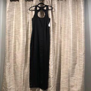 BCBG Black satin gown